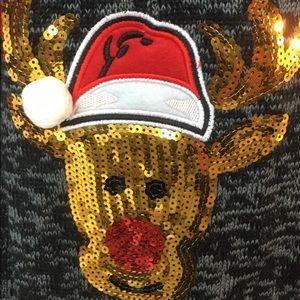 No Boundaries Sweaters - No Boundaries Christmas Cardigan Rudolph 2XL